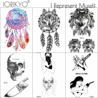 756af7d56 IORIKYO Women Dreamcathcer Tattoo Stickers Wolf Body Arm Art Temporary  Tattoo Men Wolf Skull Fake Knife