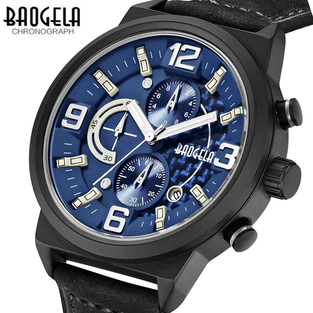 BAOGELA Men Fashion Casual Quartz Watch Male Casual Leather Band Wristwatches Waterproof Watches Relogio Masculino men quartz watches military fashion men business casual quartz wristwatches 50m waterproof watch relogio masculino liebig 1018