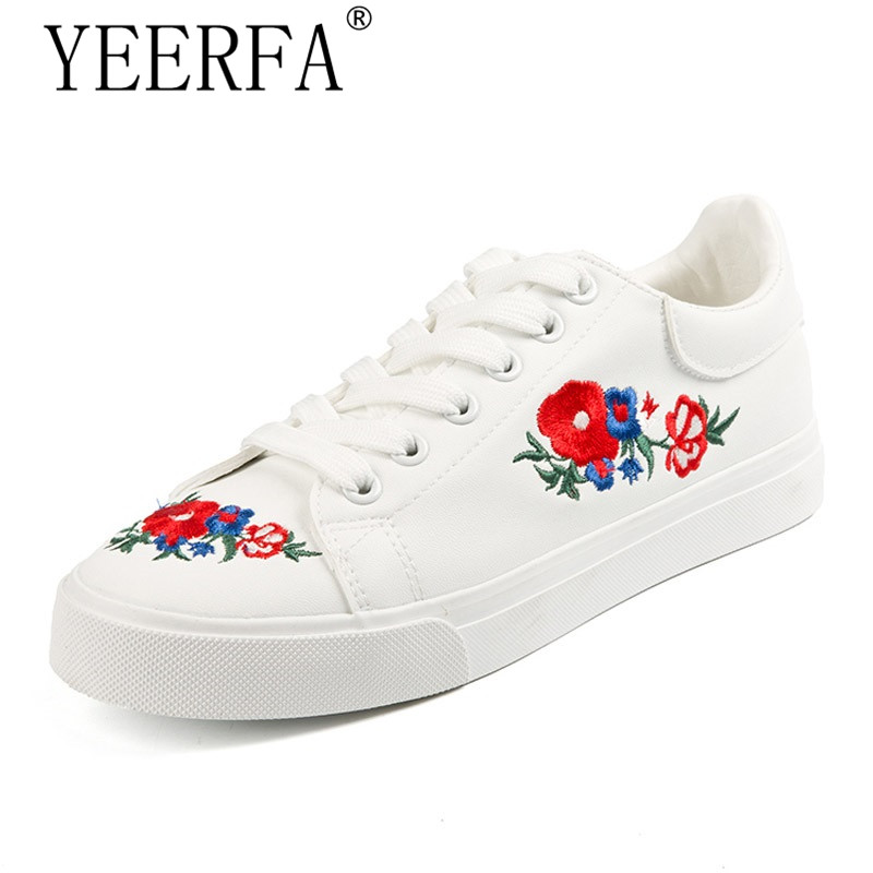 YEERFA 2017 Canvas Shoes Woman Platform Loafers Embroider Creepers Spring Lace-Up Flats Casual Flowers Women Shoes size 35-40 minika women shoes summer flats breathable lace loafers platform wedges lose weight creepers platform slip on shoes woman cd41