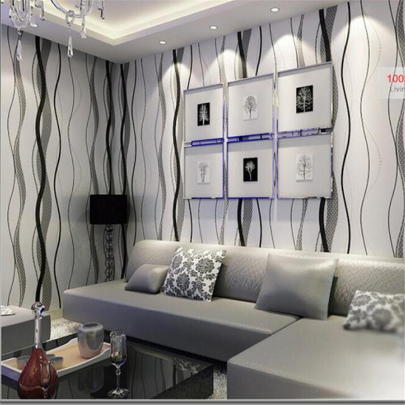 ФОТО Beibehang Simple modern non - woven wallpaper water ripple curve striped TV background wallpaper living bedroom 3d wallpaper