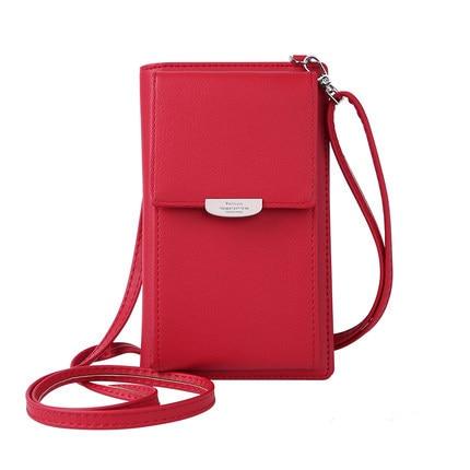 Новинка, Женский кошелек на каждый день, брендовый кошелек для мобильного телефона, большие держатели для карт, кошелек, сумочка, клатч, сумка на ремне через плечо - Цвет: red