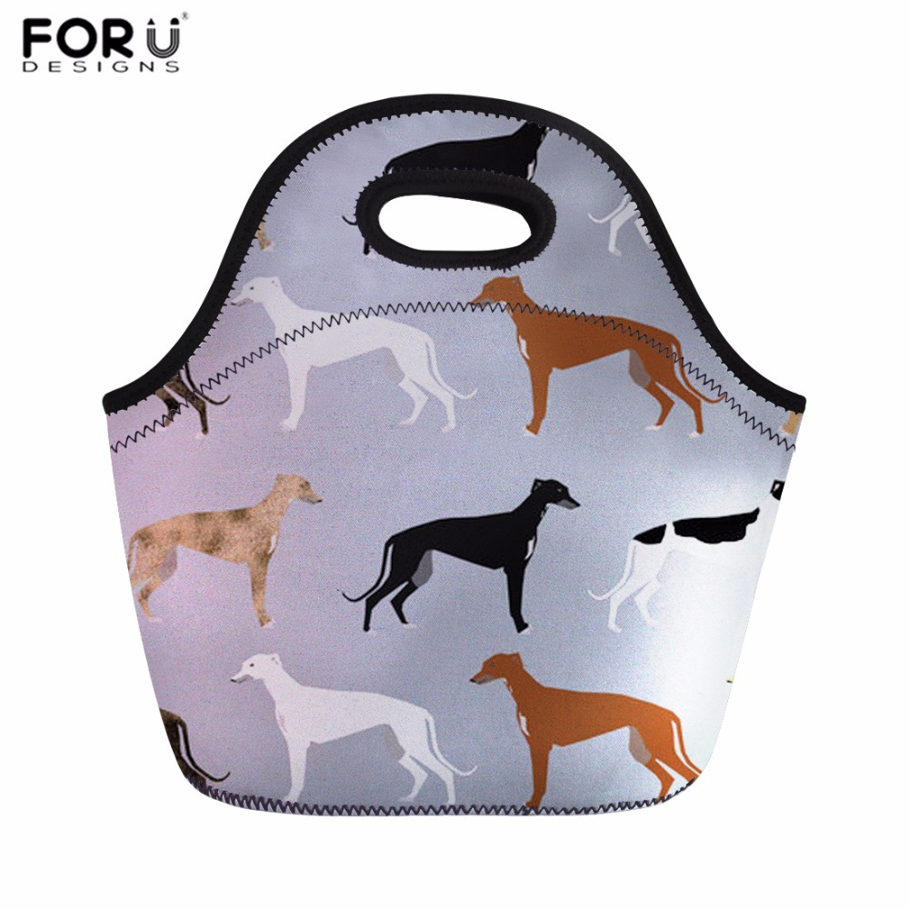 FORUDESIGNS Lunch Bag for Women Greyhounds Cute Dog Rescue Dog Thermal Food Bag Kids Picnic Bag Teenager Girls Meals Sacola 2018