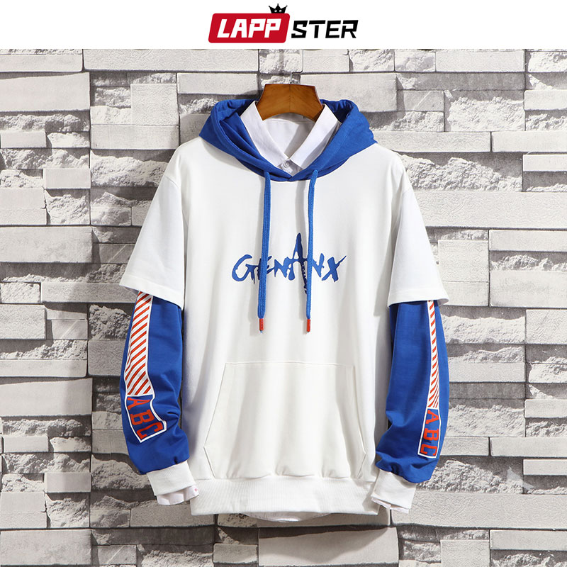 LAPPSTER Men Patchwork Hip Hop Hoodies 2020 Mens Japanese Streetwear Harajuku Sweatshirts Male Pocket Harajuku Fashions Hoodie