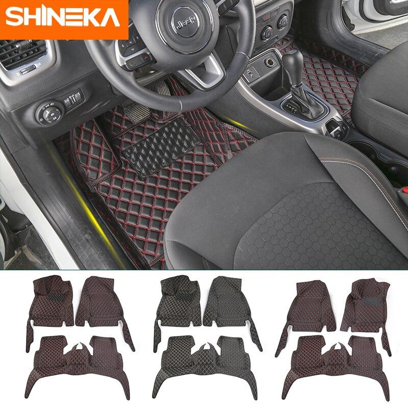 SHINEKA tapis et tapis pour Jeep boussole 2017 + voiture intérieur en cuir tapis de pied Kit de décoration accessoires pour Jeep boussole 2017 Up