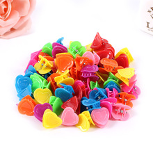 Beautiful candy colors small heart hair claws for baby  girls mini clips quality plastic sweet love design hairpins 100pcs