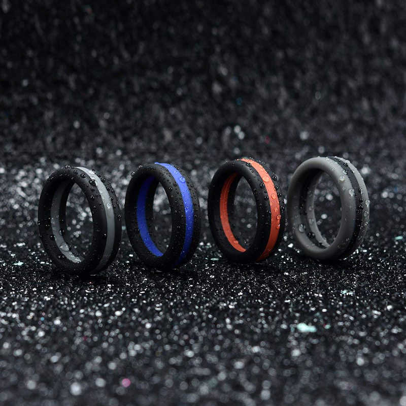 2019 New Men Women Engagement Wedding Silicone Rings Colorful Three Layered Hypoallergenic Crossfit Flexible Rubber