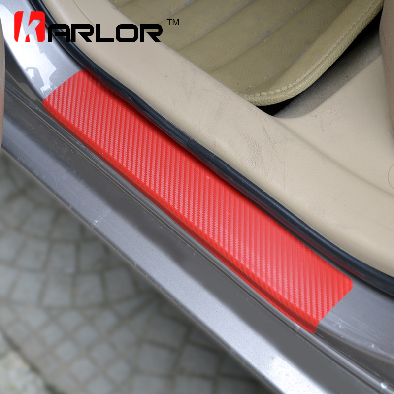 Carbon Fiber Protection Scratch Welcome Pedal Door Sill Trim Stickers Decals Car Styling For Toyota Corolla 2014-16 Accessories