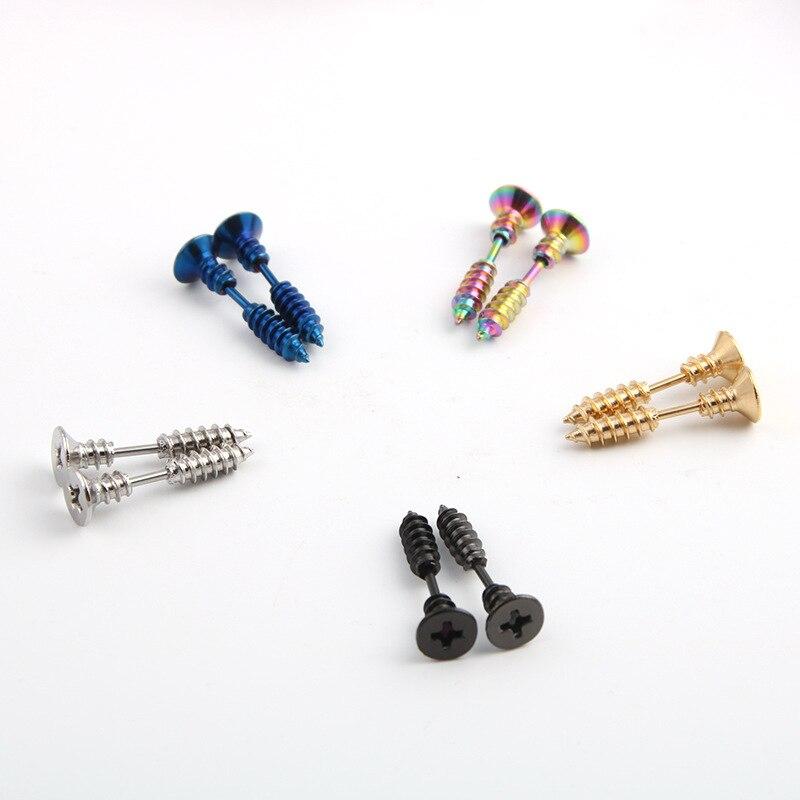 Fashion Steampunk Screw Stud Earrings Stainless Steel Body Piercing Earing Studs For Men Women Trinket Party Jewelry Gift