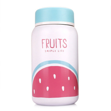 250ml Colorful Fruit Pattern Double Walled Vacuum Flask Thermos Bottle Stainless Steel Belly Cup Shape Portable Tour Thermo Mug