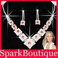 Новый Красный Горный Хрусталь Свадебный Ожерелье Невесты Ожерелье Серьги Свадебный набор