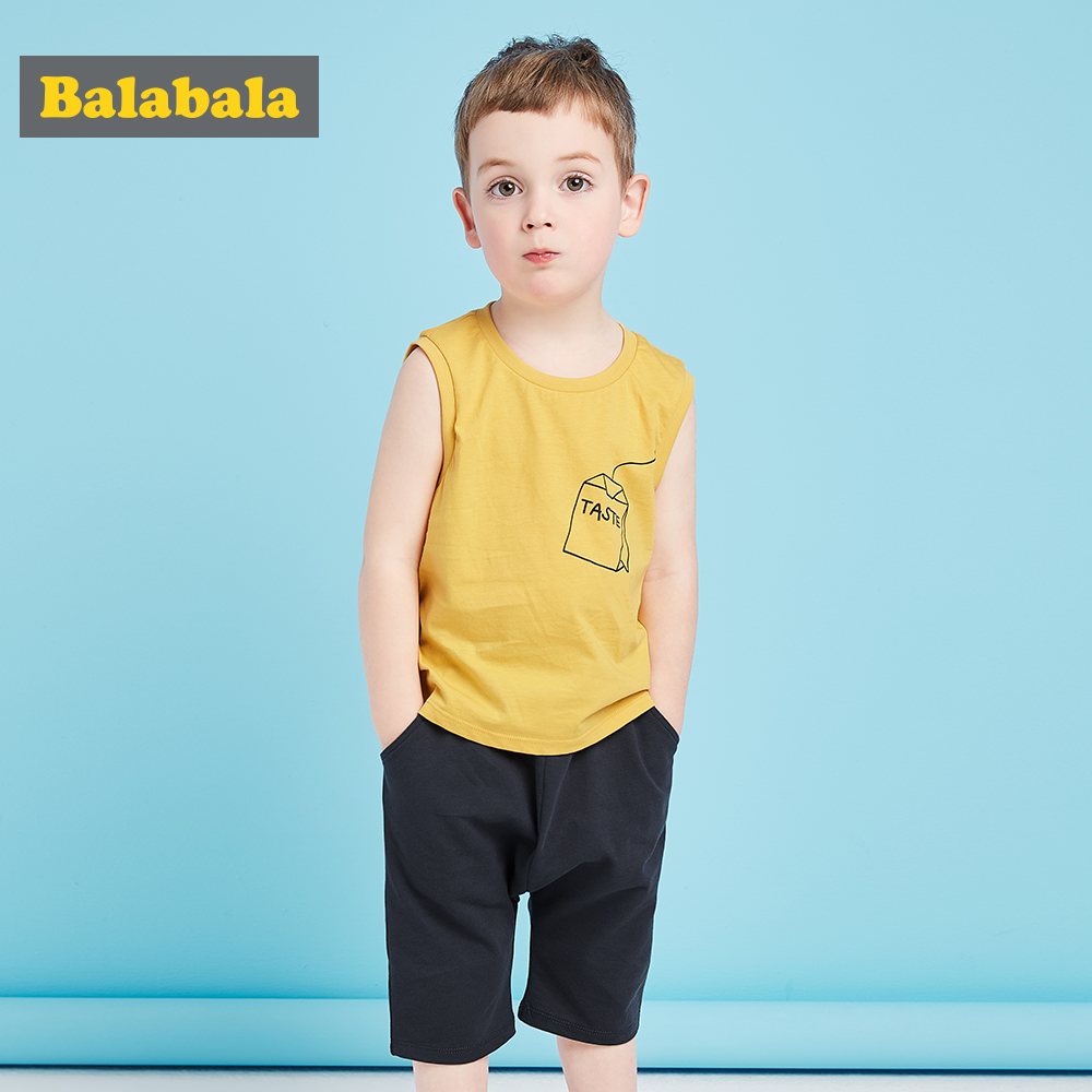 Balabala boys Clothing Sets for Kids Clothes summer 100% cotton toddler boys clothing Sets Kids trackSuits T-shirts +shorts