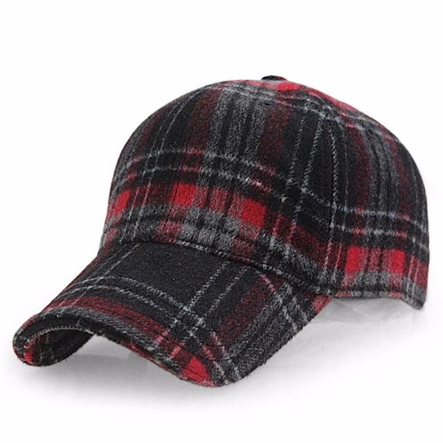 f851b5714a5 Winter Plaid Woolen Baseball Cap Men Women Cotton Snapbacks Baseball Hats Z -6246