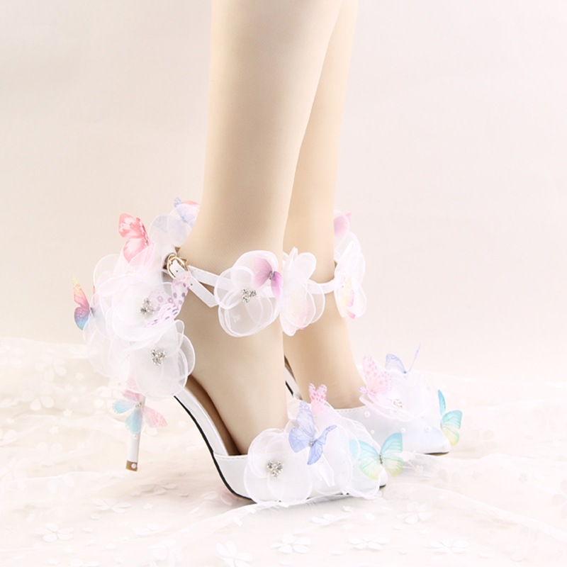 Newest Arrived White Color Fresh Flower Lace Butterfly Decration Bridal Wedding Shoes Both Pointed Toe And Round Toe Party Prom