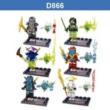 D866 Florescent Light Thunder Swordsman Ninja Building Blocks ZANE WU GREEN NINA Minifigures Action Figures legoeddis Toys 60PCS