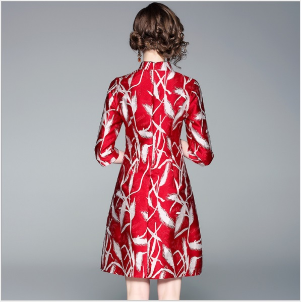 Robes Automne Stand Trimestre Femmes Boho Col Rouge Feminina Manches Vintage Floral Cheongsam 2018 Robe 80977 Trois 4xRqqBz