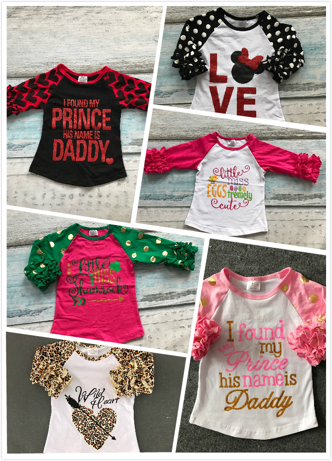 Easter baby girls love leopard three quarter cotton boutique cute top T-shirt raglans clothing ruffles little miss print prince baby girls fall boutique clothing girls time to be a unicorn raglans girl top t shirts children clothes hot pink sleeve raglans