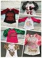 Pascua niñas bebés amor leopardo de tres cuartos de algodón boutique lindo top t-shirt ropa ruffles little miss raglans impresión prince