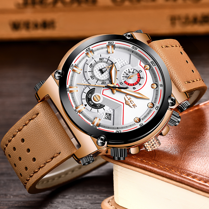 LIGE Mens Watches Brand Luxury Quartz Gold Watch Men Casual Leather Military Waterproof Sport WristWatch Relojes Hombre 2018 New agelocer brown watch a classic timepiece sport dual dial mens casual wristwatches wristwatch free shipping relojes para hombre