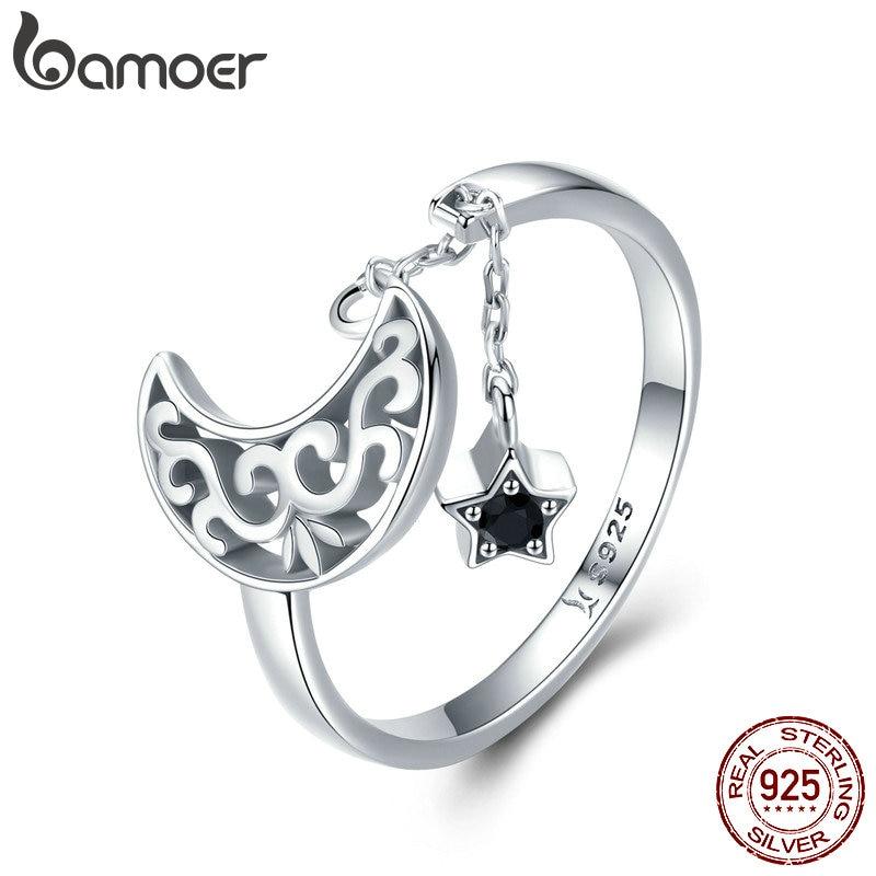 BAMOER Genuine 925 Sterling Silver Moon And Star Long Chain Star Adjustable Finger Ring
