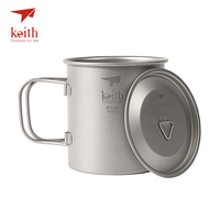 Keith Titanium Mugs Outdoor Camping Cups With Folding Handle Ultralight Travel Drinkware 300ml/400ml/500ml/600ml/900ml Available