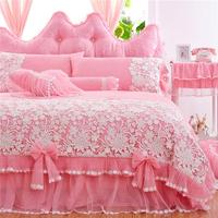 Pink Jacquard Duvet Cover Set Princess Lace Bedding Sets Luxury 4pcs Girls Wedding Bedspreads Bed Skirt Cotton Home Textile