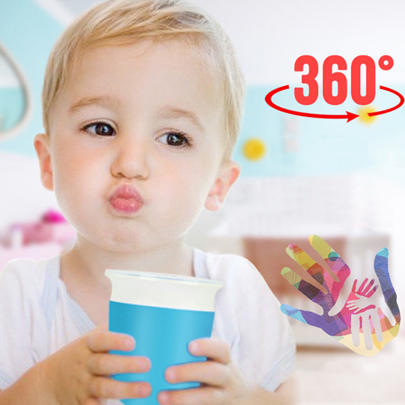 Baby Learning Drinking Cup 360 Degrees Rotatable With Double Handle Portable Leak Proof Infants Feeding Bottle Water Cups T2143
