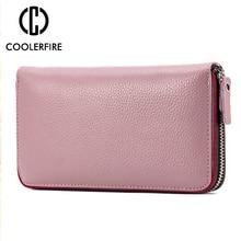 New Fashion Genuine Leather Women Wallets Female Long Zipper Clutch Lady Wallet Wristband Money Bag Cowhide Coin Purse PJ044