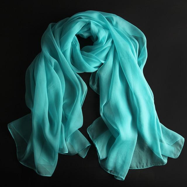100% natural silk scarf women solid color beach shawl wraps foulard femme headband hijab bandana long size 180*110cm