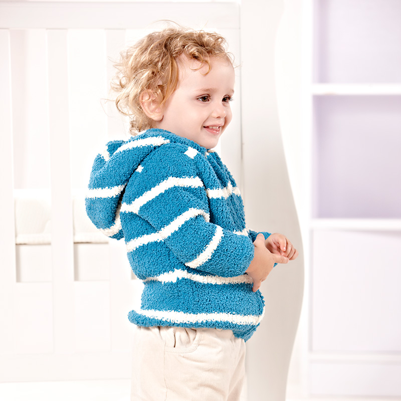 91cad86ee i baby Baby Hooded Sweater Stripe Chenille Newborn Long Sleeve Suit ...