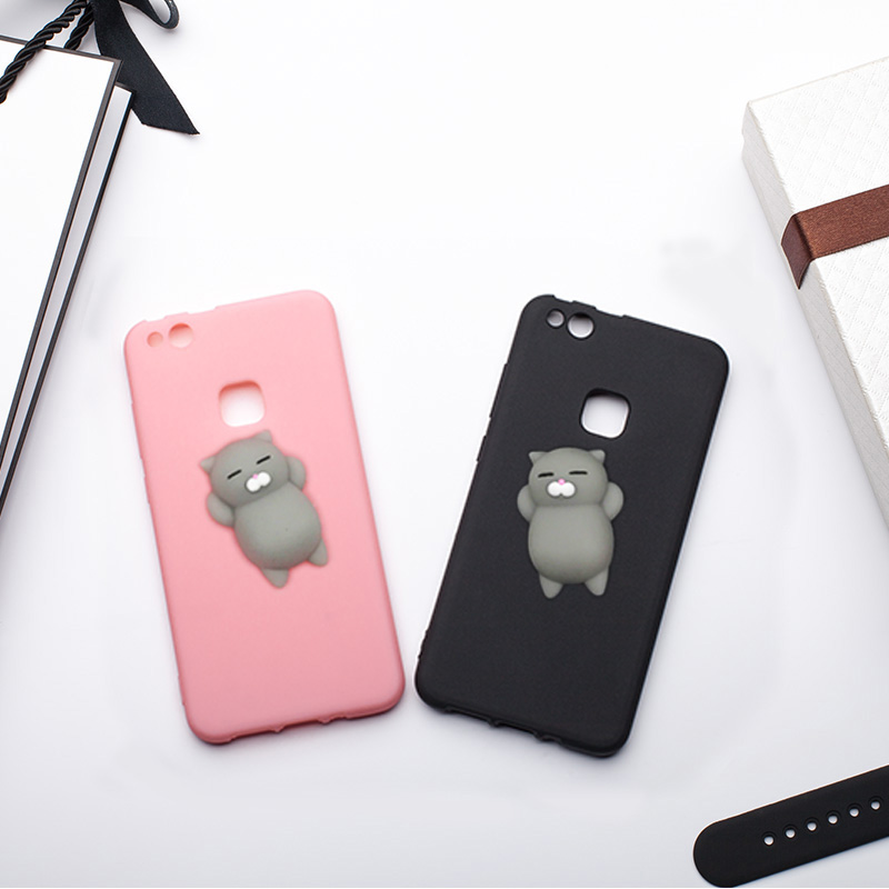 MRGO Case for Huawei P10 Lite Case P10 Cover Silicone Cute Clumsy Cat Squishy for Coque Huawei P10 Lite Case Phone Bag Fundas