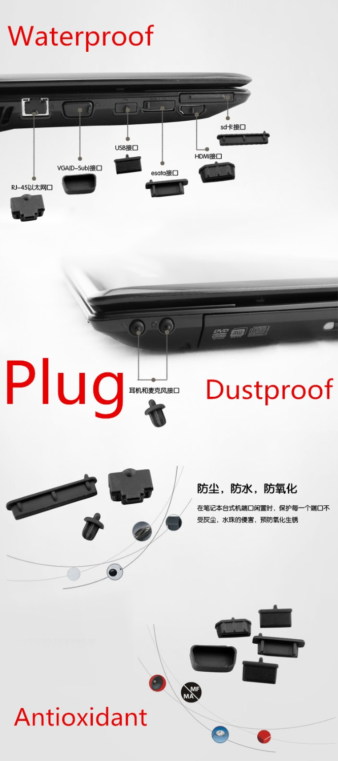 Waterproof Dustproof Laptop Black Silicone Plug Port Cover Guard For New MSI GT75 GT75VR 17.3