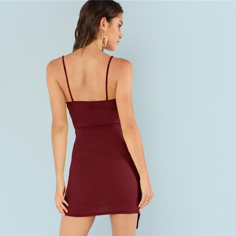 SHEIN Burgundy Ruched Side Asymmetrical Hem Cami Dress Elegant Solid Sheath Mini Dress Autumn Modern Lady Women Party Dresses 8