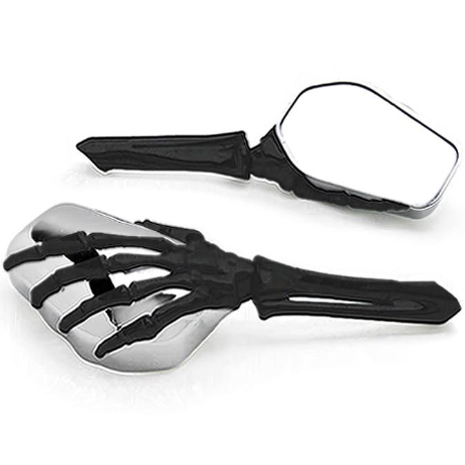 Brand new Chrome Black Custom Motorcycle Skeleton Bone Mirrors For Kawasaki ZR Zephyr 550 750