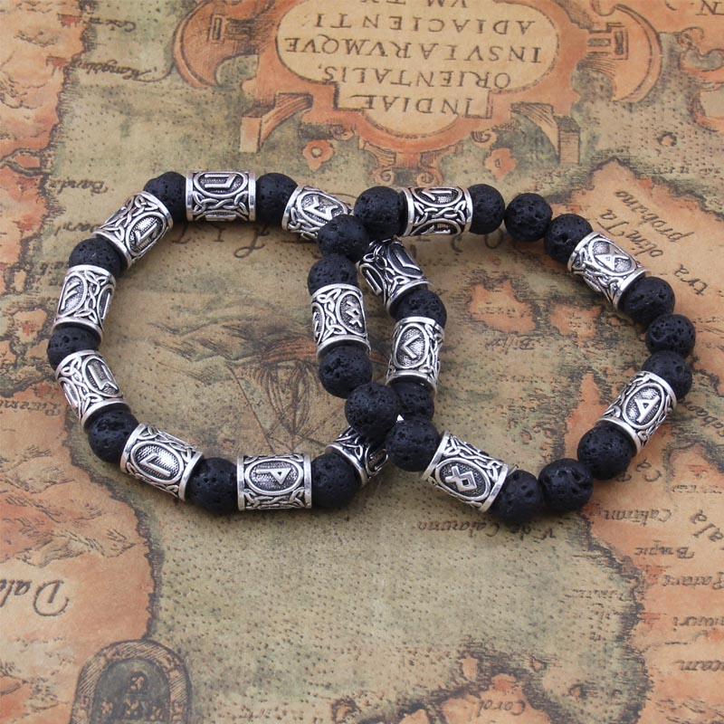 1pcs Personalized 10mm Lava Stone Antique Silver Norse Viking Beads Aromatherapy Essential Oil Diffusing Bracelets Bangles
