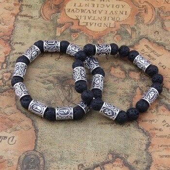 Lava Stone Antique Silver Norse Viking Beads Bracelets  Viking Bracelet