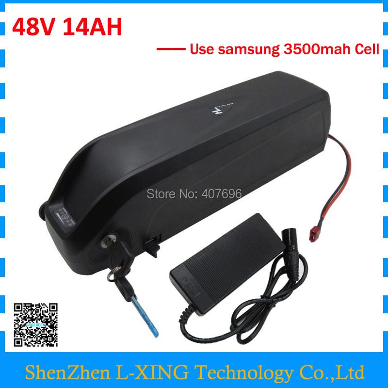 Powerful 48V 14Ah hailong lithium battery pack for electric bike use samsung 35E cells Fast shipping free shipping customs duty hailong battery 48v 10ah lithium ion battery pack 48 volts battery for electric bike with charger