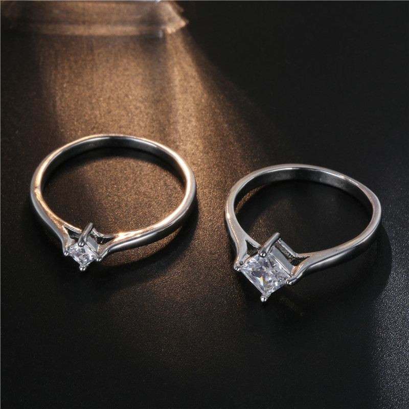FYM Fashion High Quality Sliver Color Couple Ring Women & Men Cubic Zirconia Engagement Rings for Couples Jewelry Party