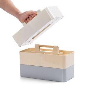 Image 4 - Ahşap saplı saklama kutusu sıralama kozmetik saklama kutusu ofis masası kırtasiye plastik bitirme kutusu kalem tutucu ofis malzemeleri
