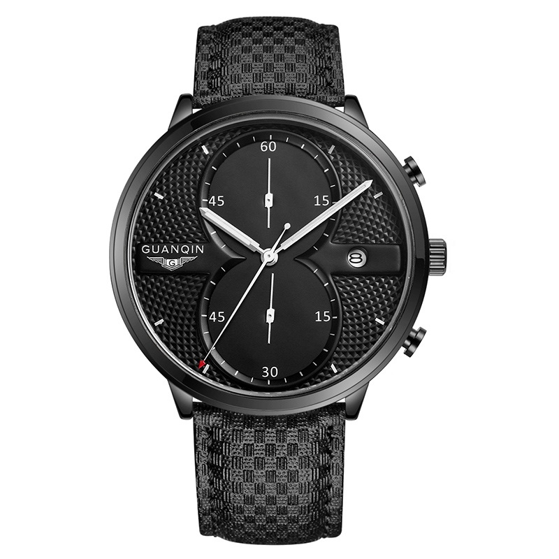 GuanQin Ultrathin Sport Watches Top brand quartz watch Men Carlendar Luminous 5Bar Waterproof Fashion casual Chronograph watch