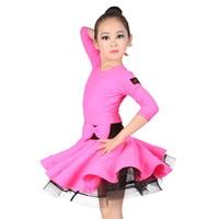Professional Spandex Latin Dance Dress Girls Children Kids 3 4 Long Sleeve Ballroom Dance Wear Slim