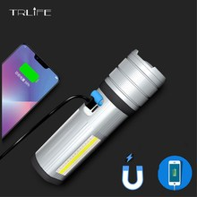 цена на 5200mAh Multifunction T6/L2 COB Torch 7Modes LED Flashlight Camping Magnet Light Red White Blue Lamp With Power Bank Function