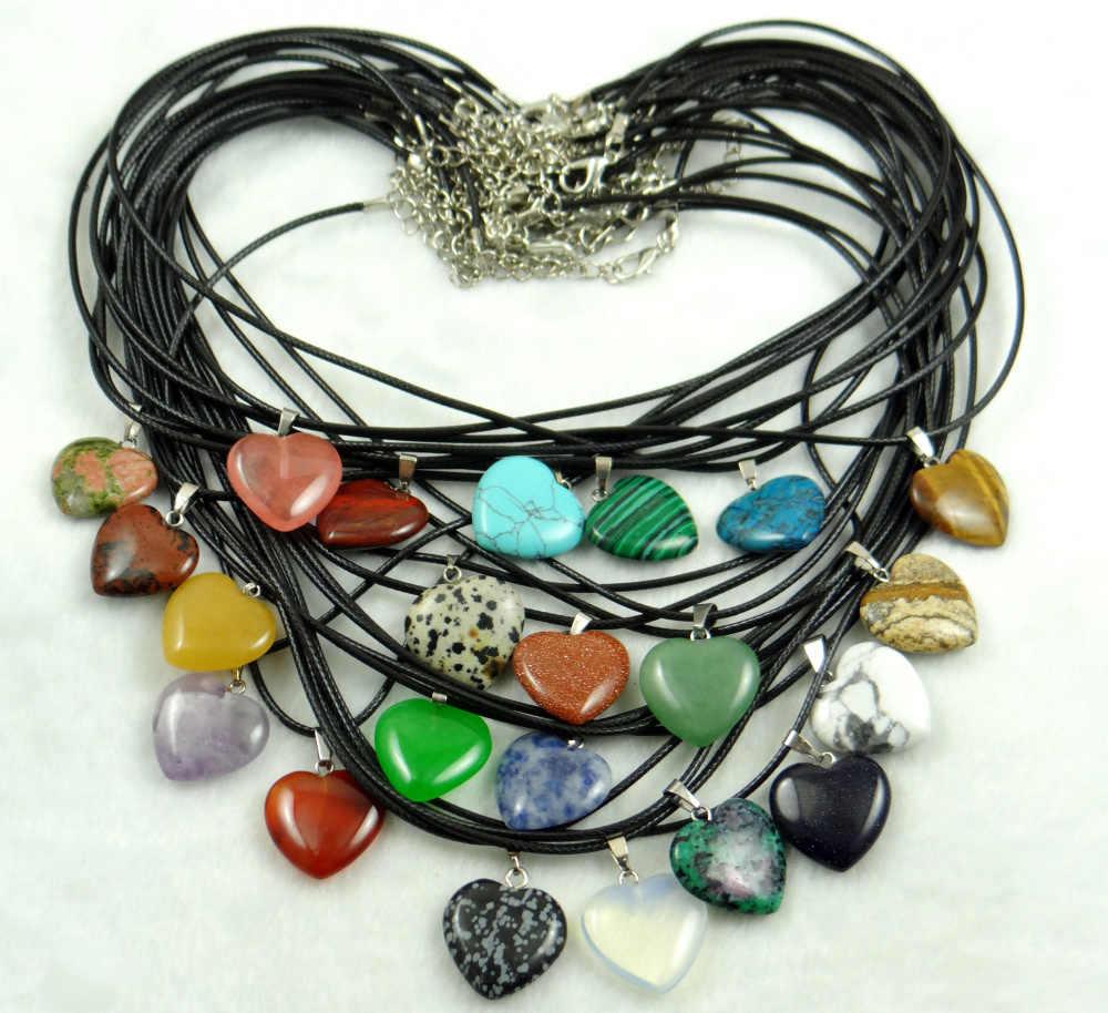 Pierre naturelle Turquoises aventurine Quartz cristal oeil de tigre lapis coeur pendentifs pour bijoux à bricoler soi-même faisant des colliers accessoires