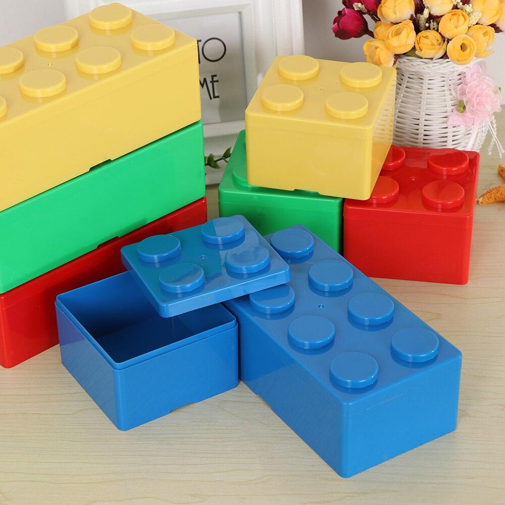 1 Pza caja de almacenamiento creativa Vanzlife bloques de construcción formas de plástico ahorro de espacio caja sobrepuesta escritorio práctico mantenimiento de Casa de oficina TINTON LIFE Bolsas de almacenamiento Bolsas de conserva de alimentos 12 + 15 + 20 + 25 + 28 cm * 500 cm 5 Rollos/Lot