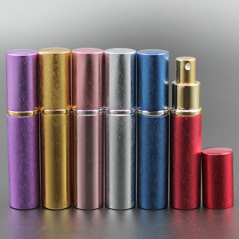 Nowe pompy 50 sztuk/partia 10 ml z anodyzowanego aluminium szklana butelka perfum fiolka perfumy płyn Atomizer Spray pojemnik na butelki zapach butelka w Butelki wielokrotnego użytku od Uroda i zdrowie na  Grupa 2