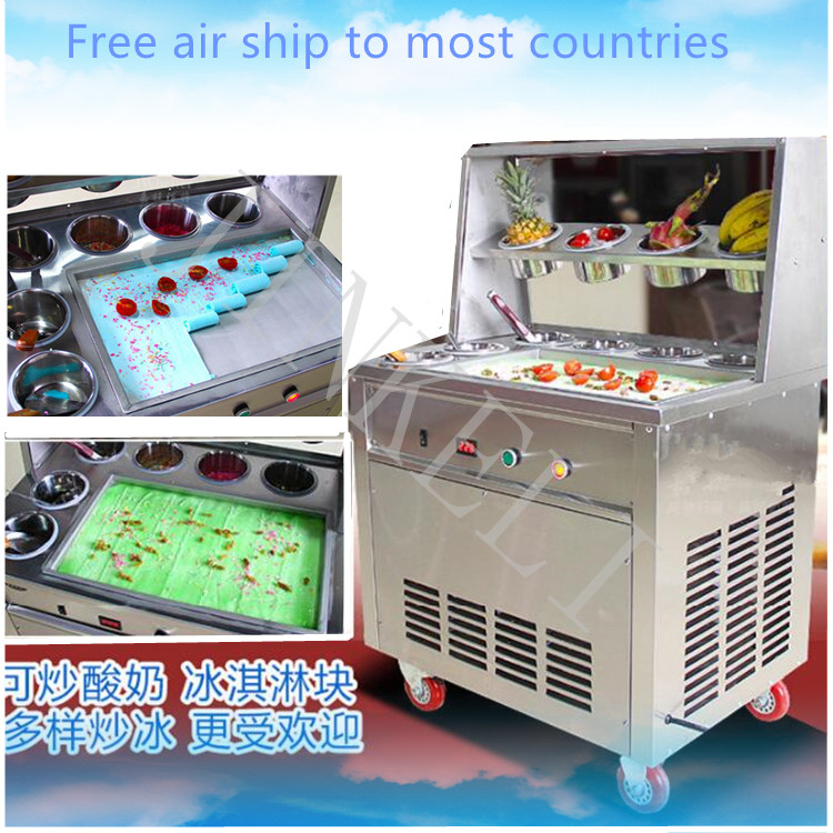 50CM Single Pan 10 barrels R410 1600W Fried Ice Cream Roll Machine Commercial Fried Milk Yogurt Machine, Ice Cream Maker chinese single round pan rolled ice cream machine fried ice cream roll machine with 6 barrels