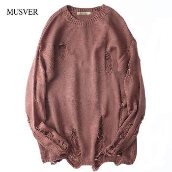 MUSVER корейский хлопковый свитер мужской 2018 зима Высокая уличная мода однотонный бренд хип-хоп негабаритных рваные пуловеры свитер для мужчи...