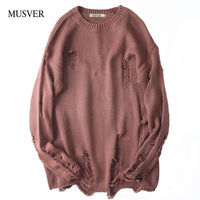 MUSVER Korean Cotton Sweater Men 2018 Winter High Street Fashion Solid Brand Hip Hop Oversized Ripped Pullovers Sweater For Male