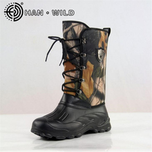 New Waterproof Snow Boots Men Non-slip Fishing/Skiing Boots High Top Men Warm Snow Shoes Leaves Camouflage Outdoor Boots
