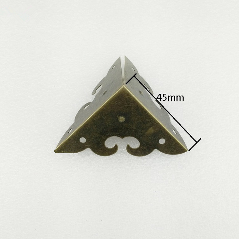 Wooden Box Cloud Coner,Wine Box Protector,Embellishment Findings Triangle Corners Antique Bronze Tone Hollow Pattern 45mm,2Pcs