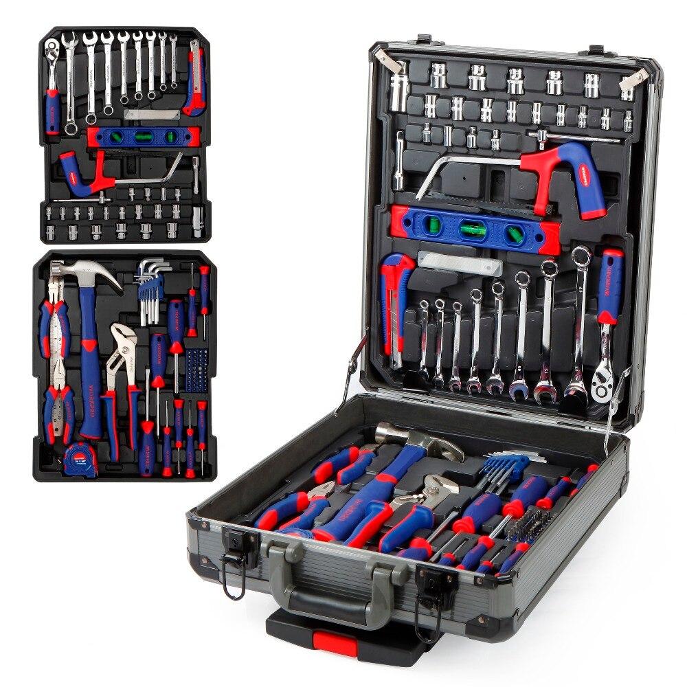 WORKPRO 111 шт. набор инструментов, набор ручных инструментов, алюминиевый ящик для тележки, набор инструментов, ремонтный набор, набор инструмен... - 2